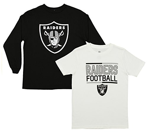 Outerstuff NFL Youth Team Flag Runner Short and Long Sleeve Set, Oakland Raiders Large - Sports Long Runner Sleeve