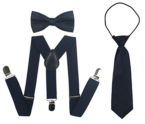 Suspenders Set for Kids, Polyester Material Y-Shape with Bowtie and Necktie (Navy)