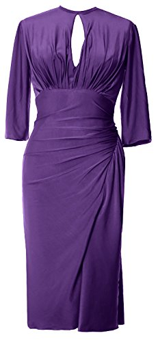 Cocktail Party Gown Formal Elegant MACloth Knee Dress Sleeve Half Jersey Length Violett zvwtwqap