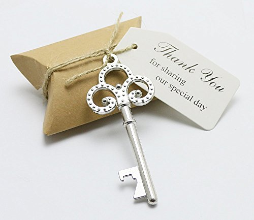 50pcs Wedding Favors Candy Box w/ Antique Skeleton Key Bottle Openers Escort Card Thank You Tag Pillow Box (Key Style (Wedding Shower Favors)