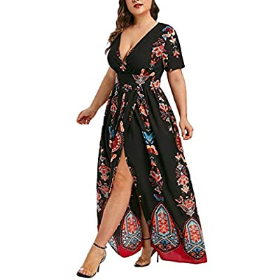 Womens Maxi Dresses Plus Size Boho Butterfly Printed V-Neck Short Sleeve Casual Long Dress at  Women's Clothing store