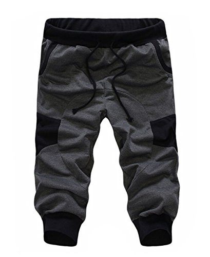 SoEnvy Men's Casual Harem Training Jogger Sport Short Baggy Pants Medium Dark Gray (Joggers Shorts)