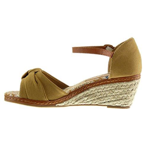 Angkorly - Zapatillas de Moda Sandalias Mules Correa de tobillo mujer cuerda nodo Talón Plataforma 7 CM - Camel