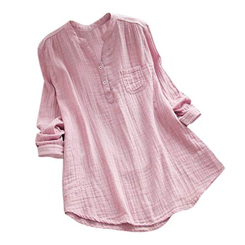 - MILIMIEYIK Women Cotton Linen Oversized Blouse Stand Collar Long Sleeve Loose Tunic Top T-Shirt Pink