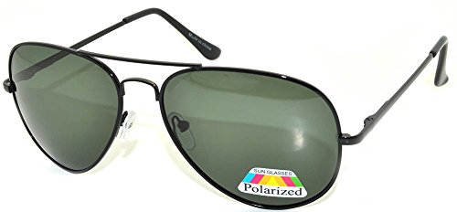 Classic Aviator Style Green Lens Sunglasses Metal Frame Black Color