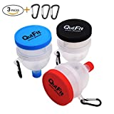QuiFit Protein Powder Funnel 2 in 1 Fill N Go Funnel Portable Supplement Pillbox Funnel Protein Storage BPA Free (3 Packs)