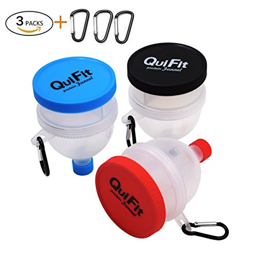 QuiFit Protein Powder Funnel 2 in 1 Fill N Go Funnel Portable Supplement Pillbox Funnel Protein Storage BPA Free (3 ()