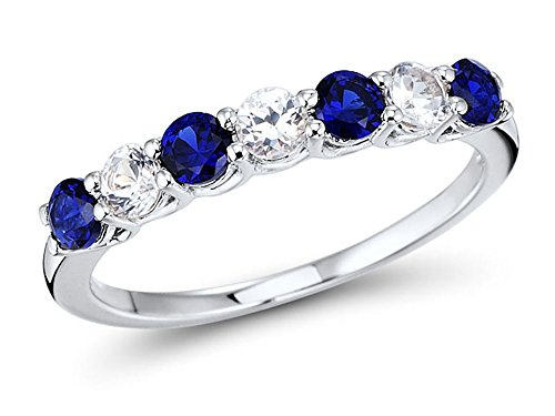 Lab Created Blue and White Sapphire 7-Stone Ring Band in Rhodium Plated Sterling Silver (Ring Created Sapphire Lab)