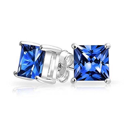 (2CT Royal Blue Square Cubic Zirconia Brilliant Princess Cut AAA CZ Stud Earrings 925 Sterling Silver Simulated Sapphire)