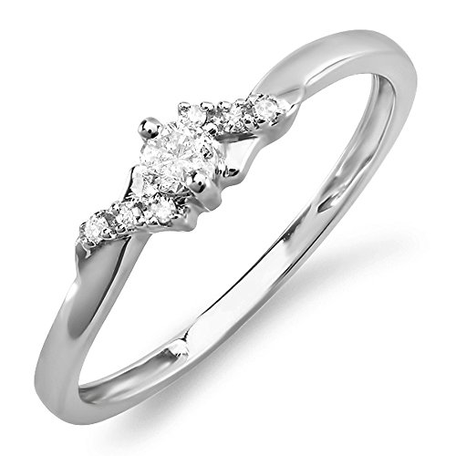 0.18 Carat (ctw) 10k White Gold Round Diamond Ladies Bridal Promise Engagement Ring (Size 6.5)