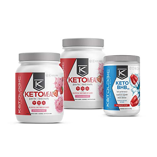 KetoLogic Keto 30 Challenge Bundle: Tim Tebow Approved | 30-Day Supply Keto Meal Replacement Shakes with MCT & Bhb Exogenous Ketones Powder | Kickstarts Your Ketogenic Diet | Stawberry & Patriot Pop