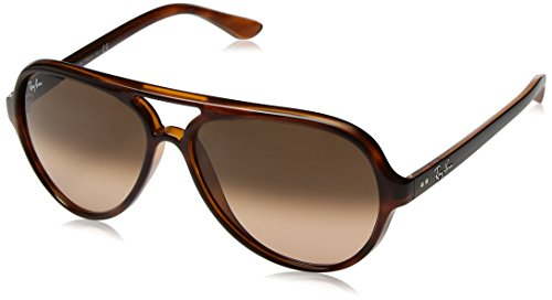 Ray-Ban RB4125 Cats 5000 Aviator Sunglasses, Striped Tortoise/Pink Brown Gradient, 59 - Striped Sunglasses Mens