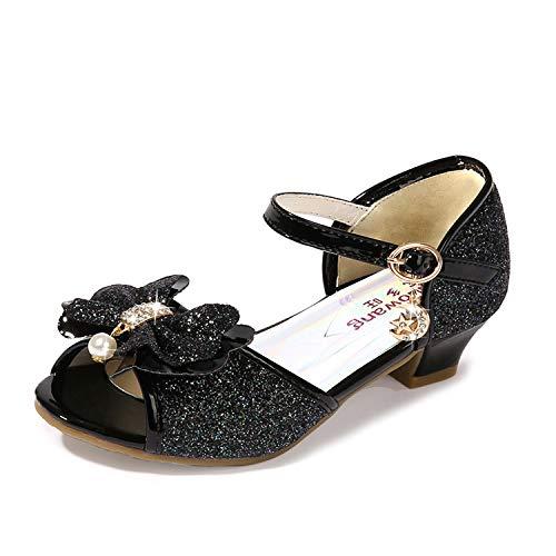 Wedge Heel Sequin Sandals for Girls Wedding Dress Size 2M Big Girls Princess Sequin Crystal High Low Heeled Sandals for Big Kids Girl (Black 35)