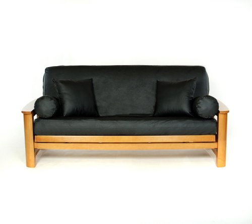 Lifestyle Covers Black Faux-Leather Futon Cover,Full Size ()