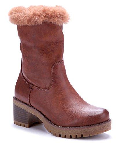 Schuhtempel24 Damen Schuhe Winterstiefeletten Stiefel Boots Blockabsatz 6 cm Camel