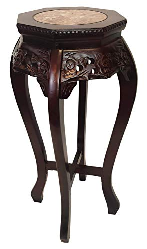 Asian Mahagony Hexagonal Plant Stand with Marble top - Unique Floral Hand Carved Design 30
