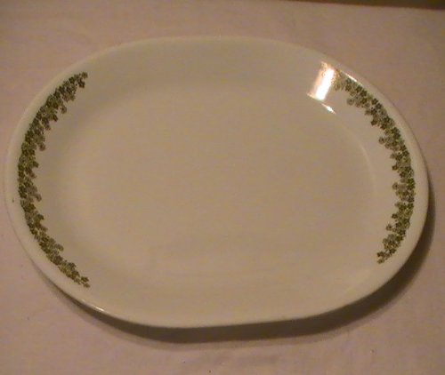 "Vintage 1970s Corning Pyrex Green "" Spring Blossom - Crazy Daisy "" Serving Plate Platter 12 1/4"" X 1"""