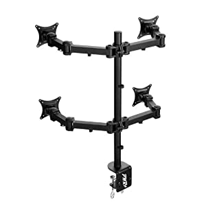 Pwr+ Quad-Monitor-Stand Led-Lcd-Desk-Mount-Clamp for Four-4-Screens up to 27-inch-Heavy-Duty Fully-Adjustable-Type