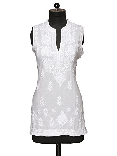 Saadgi Lucknowi Handcrafted Chikankari White Embroidered Cotton Kurta ()