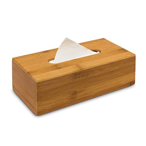 Relaxdays Kosmetiktücherbox aus Bambus HxBxT: 7,5 x 24 x 12 cm Taschentuchspender für handelsübliche Taschentücher aus…