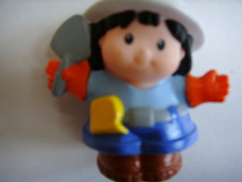 Fisher Price Little People Replacement Sonya Lee Female Figure Construction Worker Woman Girl in Hard Hat Builder Ethnic Asian Collectible ()