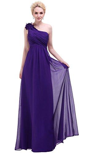 Bislu Flowers One Shoulder Long Prom Party Bridesmaids Dress Dark Purple 14 by Bislu