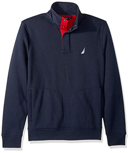 - Nautica Men's Tech Fleece Half-Snap Pullover Sweatshirt, Navy, Small