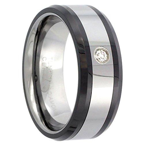 8mm Tungsten 900 Diamond Wedding Ring 0.07 cttw Beveled Black Ceramic Inlay Edges Comfort fit, size (Black Diamond Ceramic)