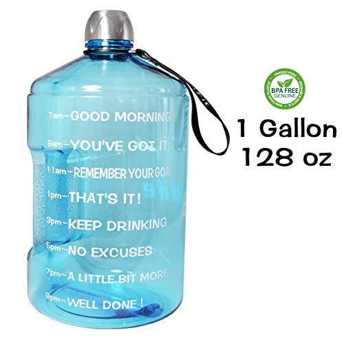 QuiFit 1 Gallon Water Bottle Reusable Leak-Proof Drinking Water Jug for Outdoor Camping Hiking BPA Free Plastic Sports Bottle (Light Blue) ()