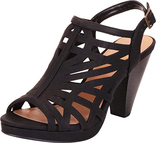 Cambridge Select Women's Open Toe Laser Cutout Slingback Chunky Stacked Heel Sandal,7 B(M) US,Black NBPU