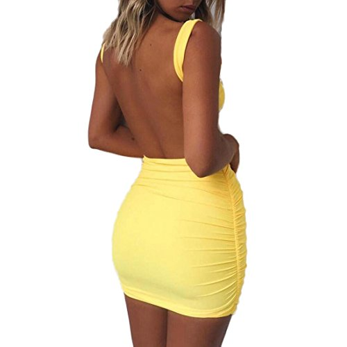 Mini Dress Casual Backless Beach BSGSH Women's Tight Pencil Bodycon Slim Yellow Tank Party vFvfqPwY4