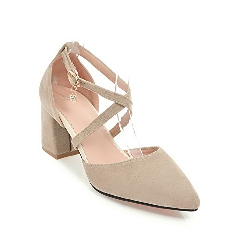 BalaMasa Womens Sandals Closed-Toe No-Closure Ankle-Wrap High-Heel Cold Lining Pointed-Toe Huarache Buckle Urethane Sandals ASL04293 Beige YRrave