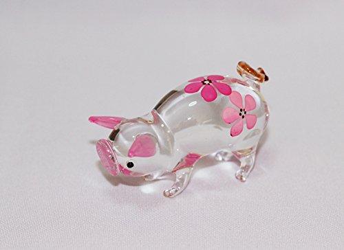 Dollhouse Miniatures Hand Blown Art Pink Cute Pig Flower FIGURINE Animals Decor
