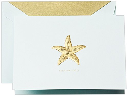 Cranes Thank You Stationery - Crane & Co. Hand Engraved Starfish Thank You Note - Pack of 10 Notes (CT1420)