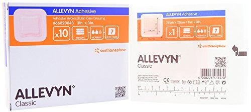 ALLEVYN Adhesive, 3'' x 3''/7.5cm x 7.5cm, 10/carton