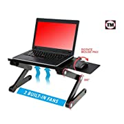 """#LightningDeal Desk York Portable Aluminum Laptop Stand - Best Gift for Friend-Men-Women-Student - Recliner/Bed Lap Tray - Table for Computer-2 Built in Cooling Fans-Mouse Pad and USB Cord -Up to 17"""""""