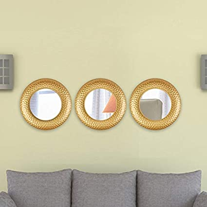Hometown Mirage Texture Border Set Of Three Gold Mirror Diametre 25 4 Cms Amazon In Home Kitchen