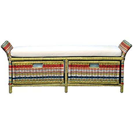 East At Main Hemphill Multi Colored Abaca Storage Bench 55x16x22