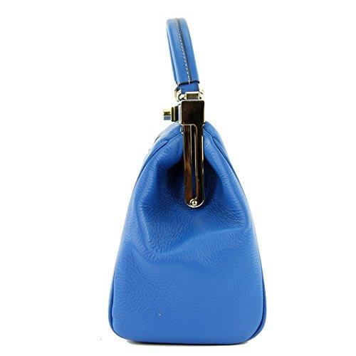 à de Präzise sac sac F6410 Farbe blue femme Made Italy pour médecin nur Sac cuir main in Farbe sac véritable sacoche modamoda italien xdXUTzw6dq