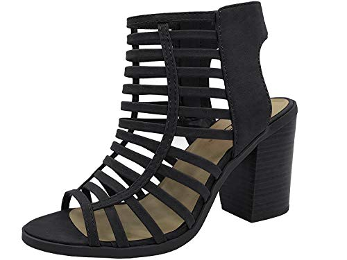SODA Womens Open Toe Strappy Caged Sandal Ankle Strap Chunky Mid Heel