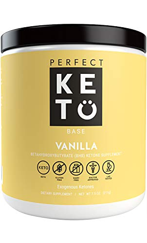 Perfect Keto Vanilla Exogenous Ketones: Base BHB Salts Supplement- Ketones for Ketogenic Diet Best to Support Energy, Focus and Ketosis Beta-Hydroxybutyrate BHB Salt 8.4 oz