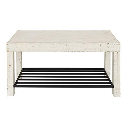 Kate and Laurel Jeran Entryway Bench with Iron Shoe Shelf, White Wood with Black Metal