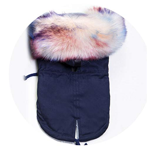 Fanatical-Night Winter Faux F-ur Collar Dog Coat Small Dog Clothes Windproof Pet Parka Warm Puppy Jacket,Navy -