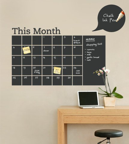 (Chalkboard Calendar with Memo Wall Decal)