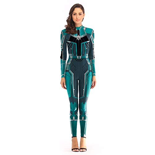 Captain Marvel Costume Carol Danvers Jumpsuit One Piece Women Superhero 3D Bodysuit Green]()