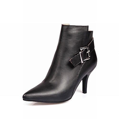 Larasa Womens Fashion Buckle Strap Zipper High-heel Ankle-high Pointed-toe Dress Boots Black mqd8H