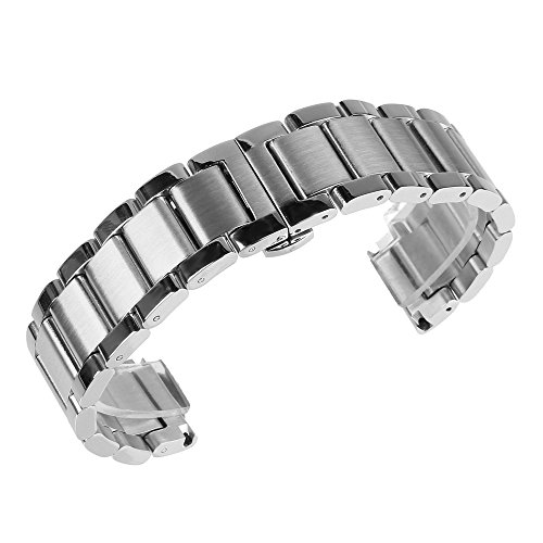Tone Watch Two Solid Wrist (Brushed & Polished Two Tone Finish Stainless Steel Link Wrist Watch Band Bracelet Strap Replacement Butterfly Buckle Clasp (23mm))