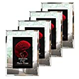 mirrored picture frames Dreamsyard Picture Frames 4x6 Glass 4-Pack Silver Mirrored Edge Desk Tabletop Standing Multi Photo Frame Bulk Set