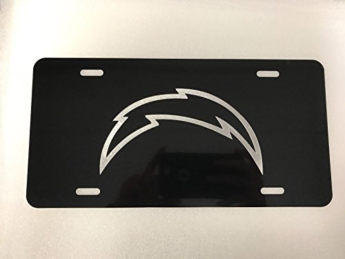Diamond Etched Los Angeles Chargers Logo Car Tag on Aluminum License Plate ()