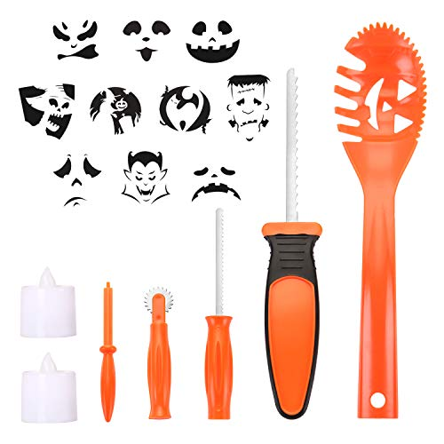 BOBOO Pumpkin Carving Set Halloween Engraving Set Child Carving Tools, 5 Pumpkin Carving Kits, 2 LED Candles and 10 Halloween Style Molds - Pumpkin Party Decoration by BOBOO